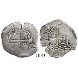 Potosí, Bolivia, cob 2 reales, 1665E.