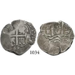 Potosí, Bolivia, cob 2 reales, 1666E.