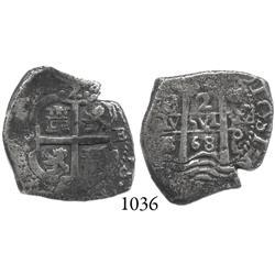 Potosí, Bolivia, cob 2 reales, 1668E.