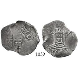 Potosí, Bolivia, cob 2 reales, 1671E.