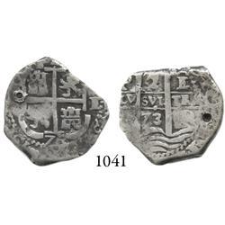 Potosí, Bolivia, cob 2 reales, 1673E, scarce.