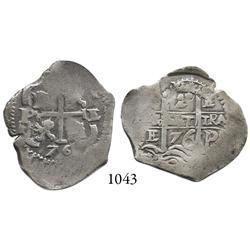 Potosí, Bolivia, cob 2 reales, 1676E, scarce.
