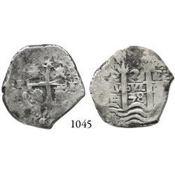 Potosí, Bolivia, cob 2 reales, 1678E.