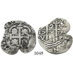 Potosí, Bolivia, cob 2 reales, 1683V.