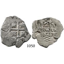 Potosí, Bolivia, cob 2 reales, 1684V.