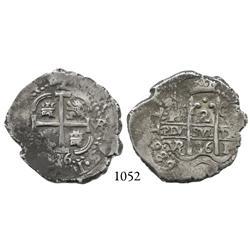 Potosí, Bolivia, cob 2 reales, 1686VR.