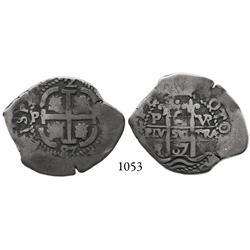 Potosí, Bolivia, cob 2 reales, 1687VR.