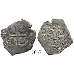 Potosí, Bolivia, cob 2 reales, 1693VR.