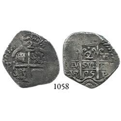 Potosí, Bolivia, cob 2 reales, 1695VR.