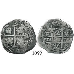 Potosí, Bolivia, cob 2 reales, 1696VR.