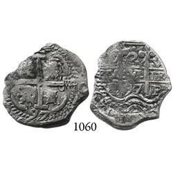 Potosí, Bolivia, cob 2 reales, 1697VR.