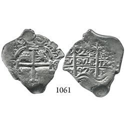 Potosí, Bolivia, cob 2 reales, 1697CH, rare.
