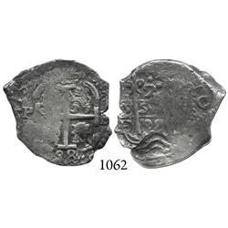 Potosí, Bolivia, cob 2 reales, 1698F.