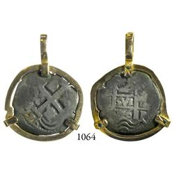 Potosí, Bolivia, cob 2 reales, 1726(Y), Louis I, scarce, mounted pillars-side out in 14K necklace be