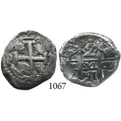 Potosí, Bolivia, cob 2 reales, 1741/0P, rare overdate.