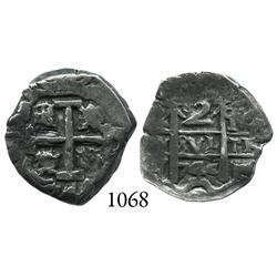 Potosí, Bolivia, cob 2 reales, 1744q.