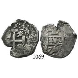 Potosí, Bolivia, cob 2 reales, 1761V-(Y).