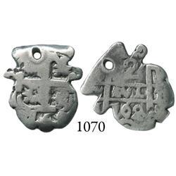 Potosí, Bolivia, cob 2 reales, 1762(V-Y), cut into pomegranate(?) shape.
