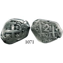 Potosí, Bolivia, cob 2 reales, 1766V-Y.