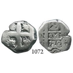Potosí, Bolivia, cob 2 reales, 1772(V)-Y.