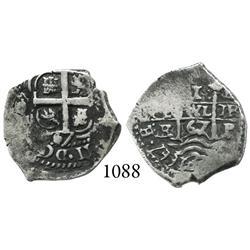 Potosí, Bolivia, cob 1 real, 1667E, Charles II.
