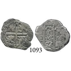 Potosí, Bolivia, cob 1 real, 1672/1E, scarce overdate.