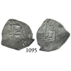 Potosí, Bolivia, cob 1 real, 1673/2E, rare overdate.
