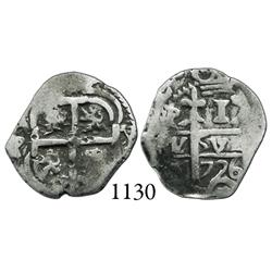 Potosí, Bolivia, cob 1 real, 1726Y, Louis I, scarce.