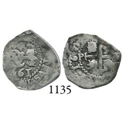 Potosí, Bolivia, cob 1/2 real, 1661E, scarce.