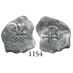 Potosí, Bolivia, cob 1/2 real, 1693.