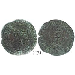 Seville, Spain, copper 4 maravedís, Ferdinand-Isabel, struck for use New World, rare.