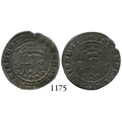 Burgos, Spain, copper 2 maravedís, Ferdinand-Isabel, struck for use New World, rare.
