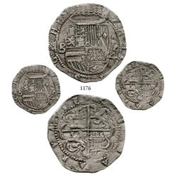 Panama City, Panama, cob 4 reales, Philip II, assayer (o)B to left, AP-4 to right, extremely rare an