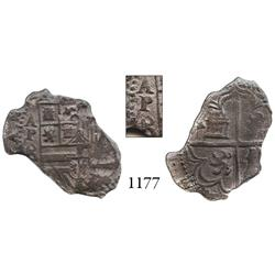 Panama City, Panama, cob 4 reales, Philip II, assayer (o)B to left below AP, very rare.
