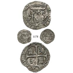 Panama City, Panama, cob 1/2 real, Philip II, AP to left, P to right, M below monogram, very rare.