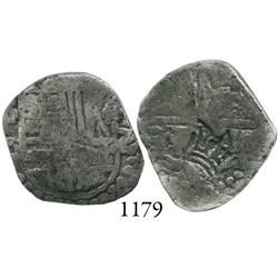 Guatemala, crown countermark (1663) on a Potosí, Bolivia, cob 2 reales, Philip III, assayer T.