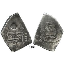 Guatemala City, Guatemala, cob 8 reales, 1740J, with sun-over-mountains countermark of Guatemala (Ty