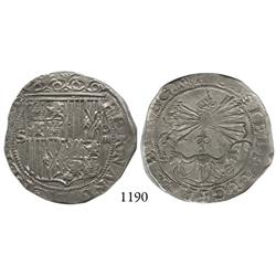 Seville, Spain, 4 reales, Ferdinand-Isabel, assayer Gothic P to right of yoke.