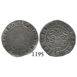 Burgos, Spain, 1/2 real, Ferdinand-Isabel, B below yoke, basket before cross-crosslet in obverse leg