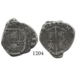 Spain (mint uncertain), cob 2 reales, 1627, assayer not visible, rare.