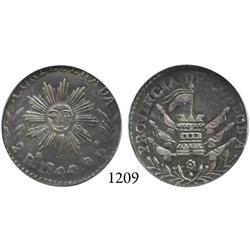 Cordoba, Argentina, 2 reales, 1844, encapsulated NGC AU-58.