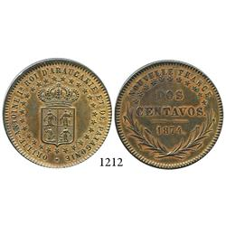 Patagonia and Araucania (New France), copper pattern 2 centavos, King Orllie-Antoine, 1874.