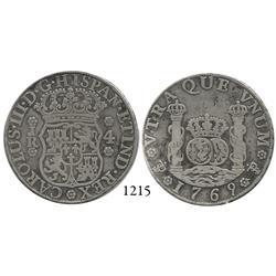 Potosí, Bolivia, pillar 4 reales, Charles III, 1769JR, fancy 9, hooked 6.