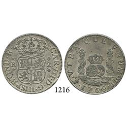 Potosí, Bolivia, pillar 2 reales, Charles III, 1769JR, round 9.
