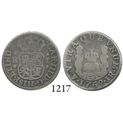 Potosí, Bolivia, pillar 1 real, Charles III, 1769JR, fancy 9 .