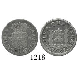 Potosí, Bolivia, pillar 1/2 real, Charles III, 1767JR.