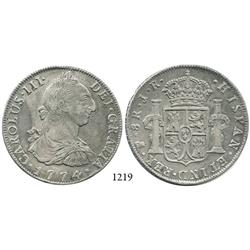 Potosí, Bolivia, bust 8 reales, Charles III, 1774JR.