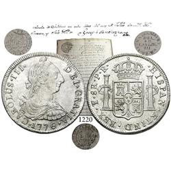 Potosí, Bolivia,  bust 8 reales, Charles III, 1776PR, encapsulated NGC MS-62, accompanied by an orig
