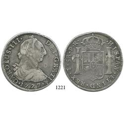 Potosí, Bolivia, bust 8 reales, Charles III, 1777PR.
