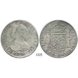 Potosí, Bolivia, bust 8 reales, Charles III, 1787PR.